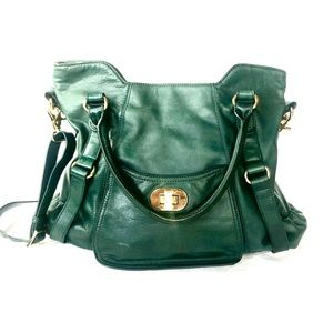 BADGLEY MISCHKA | Forest green leather tote